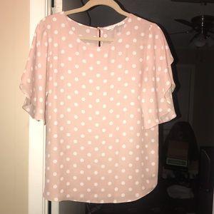 Pink and white polka dot top